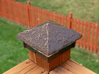 Hammered Cast Bronze Lighted Post Cap.