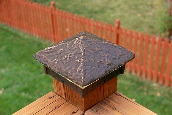 Hammered Cast Bronze Deck Light / Post Cap.
