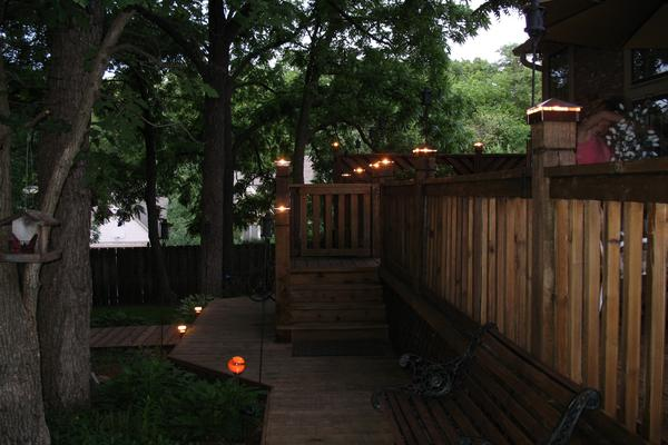 Photo gallery moonlight decks deck lights deck lighting low voltage lighted post caps at night aloadofball Choice Image