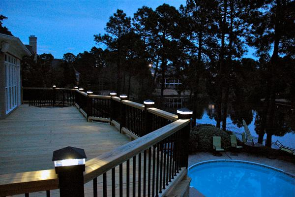 Smooth, Black Wrinkle Deck Light / Lighted Post Cap. With triple glass.