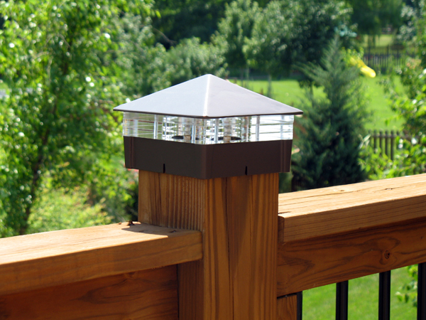smooth roman bronze deck light lighted post cap with triple glass deck post caps
