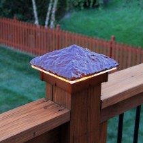 Hammered Sunburst Deck Light / Lighted Post Cap.