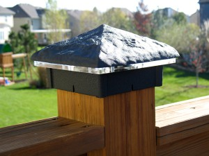 Hammered Black Wrinkle Deck Light / Lighted Post Cap.