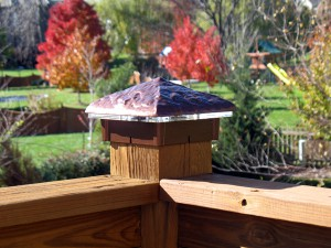 Hammered Copper Vein Deck Light / Lighted Post Cap.