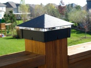 Smooth, Black Wrinkle Deck Light / Lighted Post Cap.