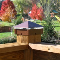Smooth, Copper Vein Deck Light / Lighted Post Cap.