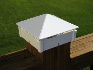 Smooth, White deck light / lighted post cap.