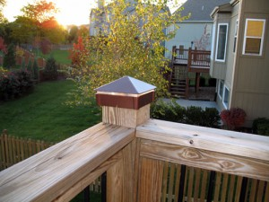 Smooth, Copper Vein Deck Light, Low Voltage Lighted Post Cap.