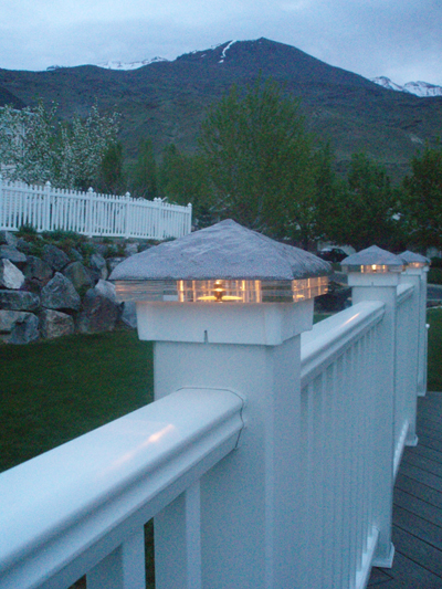 Hammered, Silver Vein deck lights with white base and double glass.